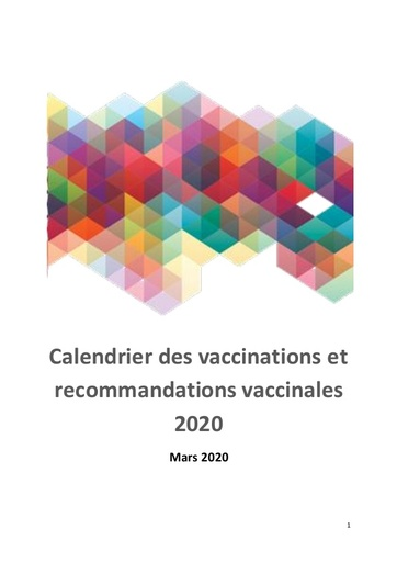 1- Calendrier vaccinal 2020