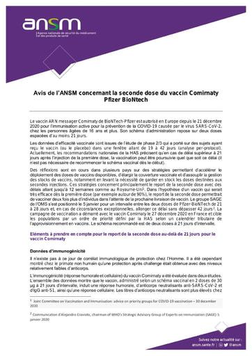 20210107 Avis ANSM Seconde dose vaccin Comirnaty 2