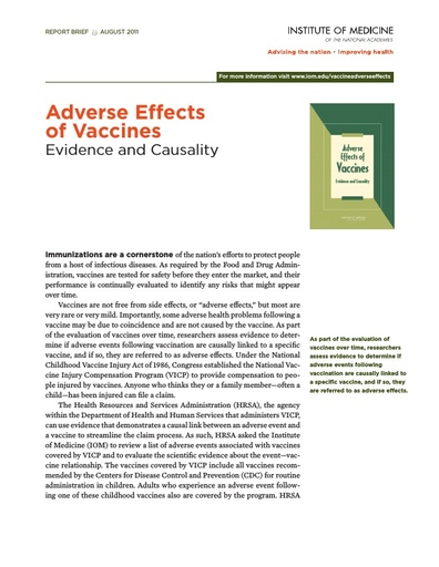 Adverse Effects Of Vaccines Report Brief Summary
