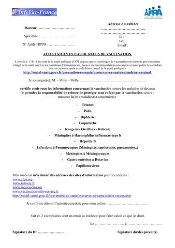 4- Attestation de refus de vaccination Infovac/AFPA
